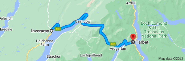 Map from Inveraray, UK to Tarbet, Arrochar G83 7DD, UK