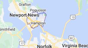 Map of Hampton, Virginia