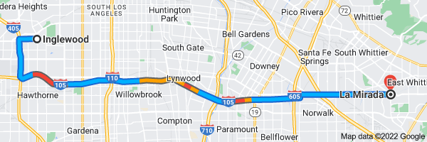 Map from Inglewood, California to La Mirada, California