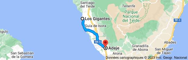 Carte depuis Los Gigantes, Santa Cruz de Ténérife pour Adeje, Santa Cruz de Ténérife