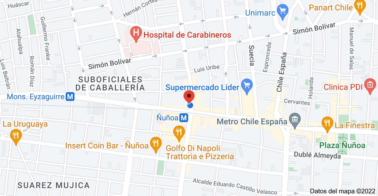 Mapa de Av. Pedro de Valdivia 3401, Ñuñoa, Región Metropolitana
