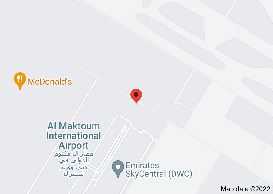Location of Al Maktoum International Airport
