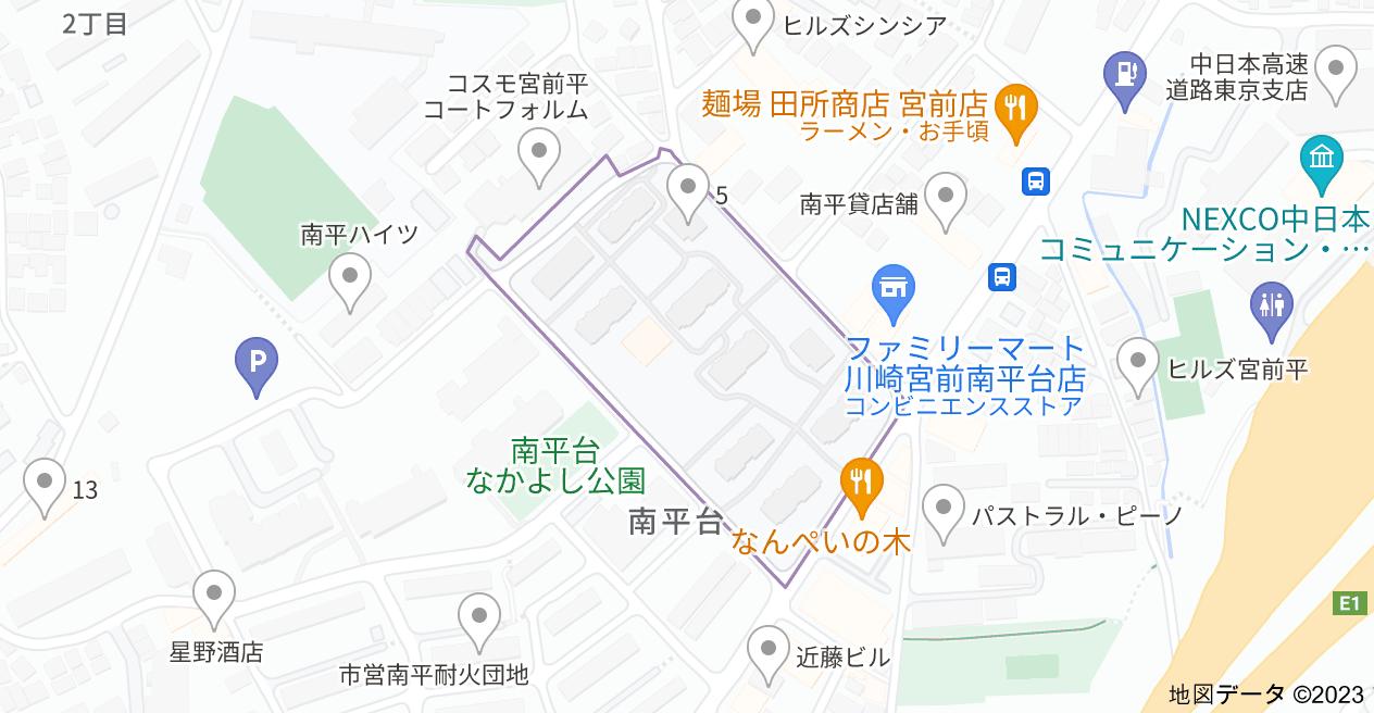 〒216-0024 神奈川県川崎市宮前区南平台17の地図