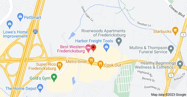 Map of 600 Westwood Office Park, Fredericksburg, VA 22401
