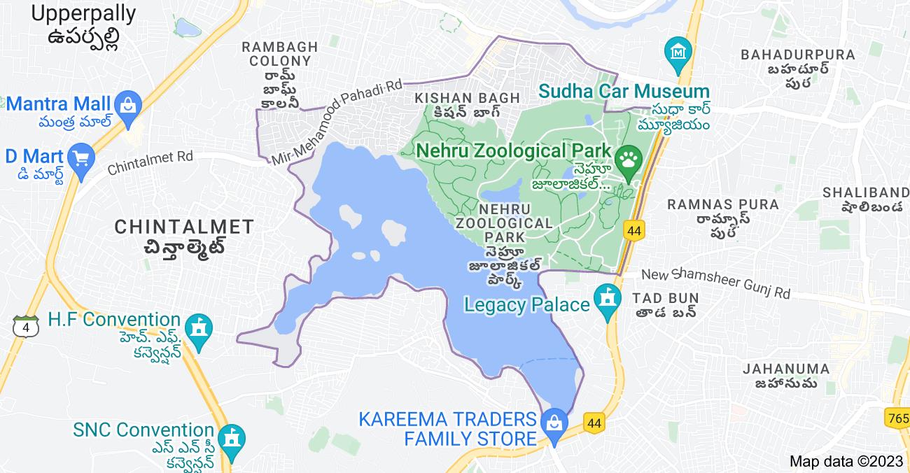 Map of Kishan Bagh, Hyderabad, Telangana, India