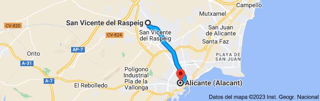 Mapa de San Vicente del Raspeig, Alicante a Alicante (Alacant), Alicante