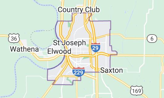 Map of St. Joseph, Missouri