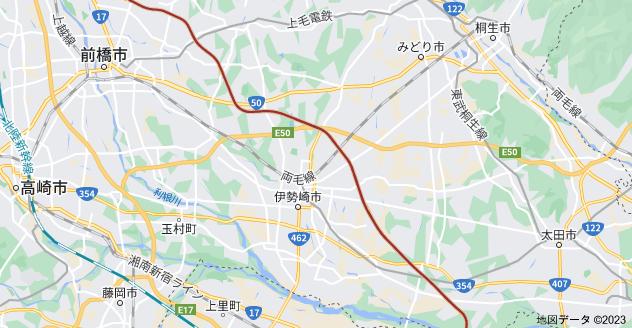 群馬県伊勢崎市 上武道路の地図