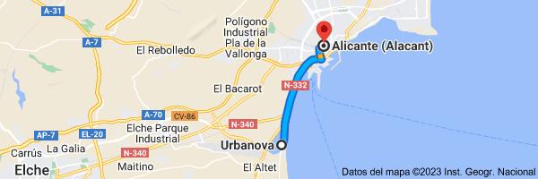 Mapa de Urbanova, Alicante (Alacant), Alicante a Alicante (Alacant), Alicante