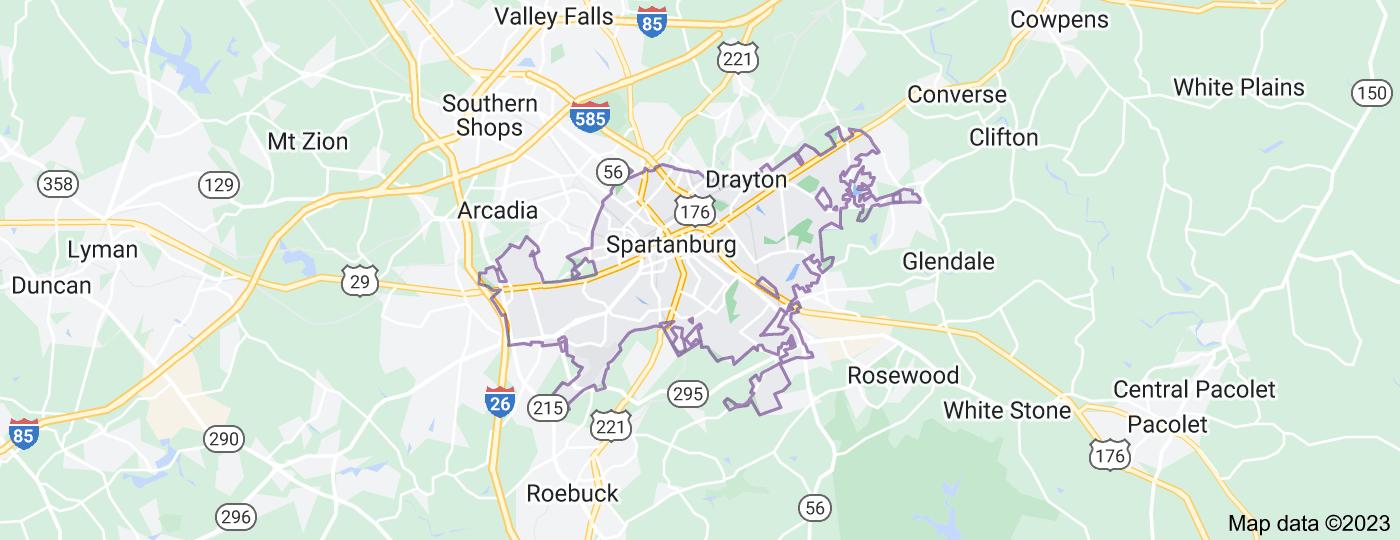 Location of Spartanburg
