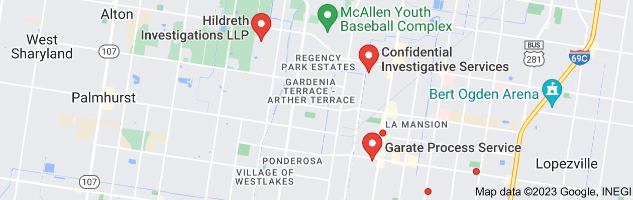 Map of private investigator mcallen tx