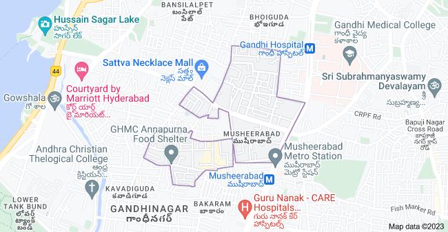 Map of Bholakpur, Bhoiguda, Hyderabad, Telangana, India