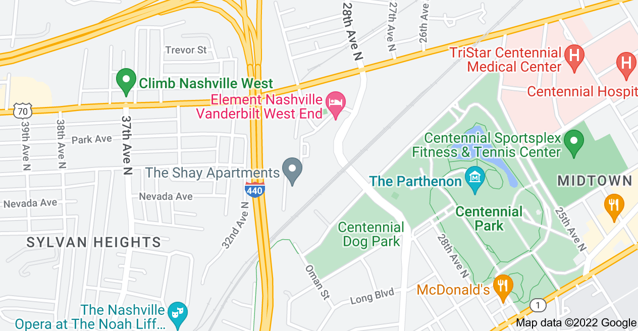 Map of oneC1TY Nashville, 8 City Blvd, Nashville, TN 37209