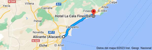 Mapa de Alicante a Hotel La Cala, Av. de la Marina Baixa, 10, 03509 Cala de Finestrat, Alicante
