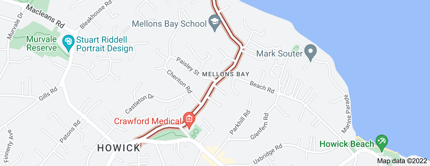 Location of Mellons Bay Road