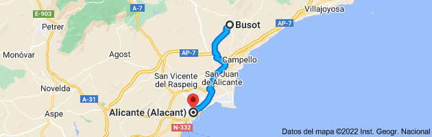 Mapa de Busot, 03111, Alicante a Alicante (Alacant), Alicante