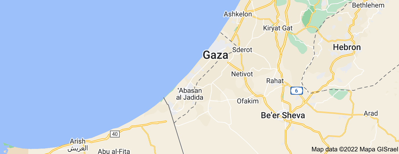 Location of Gaza Strip