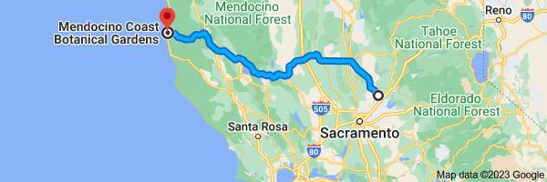 Map to Mendocino Coast Botanical Gardens, 18220 CA-1, Fort Bragg, CA 95437