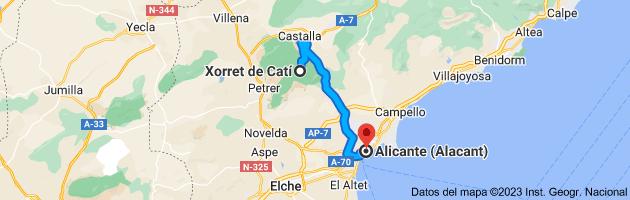 Mapa de Xorret de Catí, CV-817, s/n, 03420 Castalla, Alicante a Alicante (Alacant), Alicante