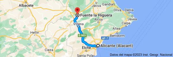Mapa de Alicante a Fuente la Higuera, 46630, Valencia