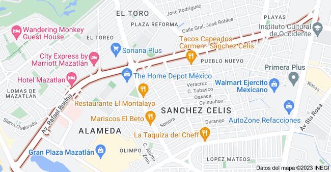 Mapa de Av. Rafael Buelna, Mazatlán, Sin.