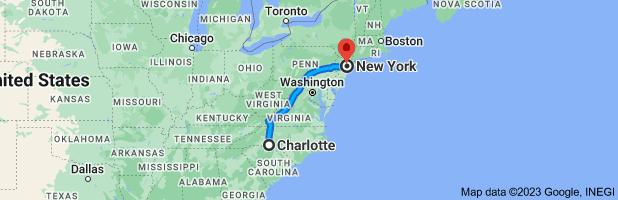 Map from Charlotte, North Carolina, USA to New York, USA