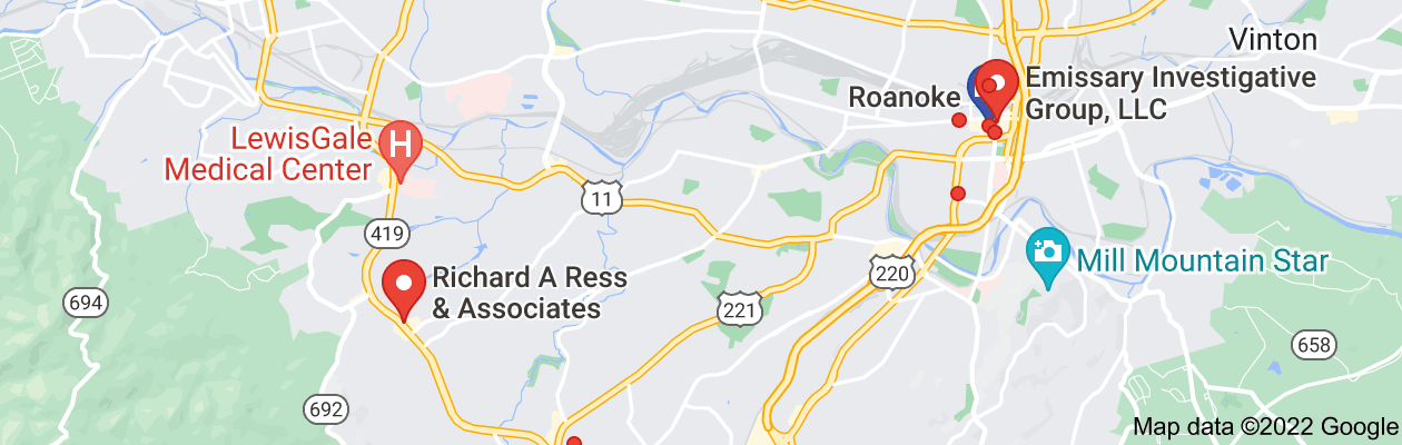 Map of private investigator roanoke virginia