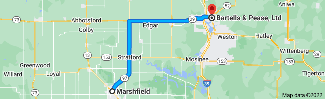 Map from Marshfield, Wisconsin to Bartells & Pease, Ltd, 613 Forest St, Wausau, WI 54403