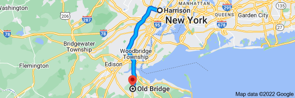 Map from Harrison, New           Jersey to Old Bridge Township, New Jersey