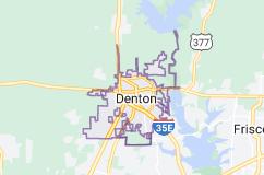 Map of Denton, Texas
