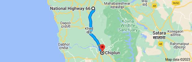 Map from Kashedi Ghat, राष्ट्रीय महामार्ग १७ Bhogaon Bk Maharashtra 415640 Republic of to Chiplun, Maharashtra