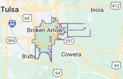 Map of Broken Arrow, Oklahoma