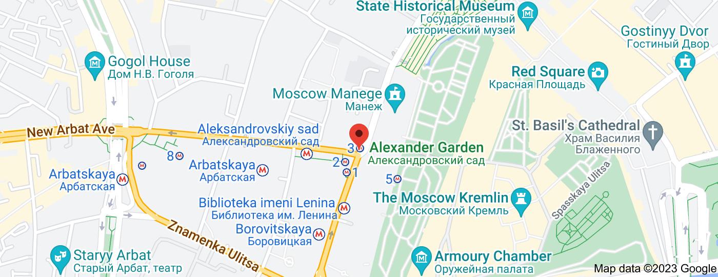 Location of Aleksandrovsky Sad
