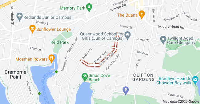 Map of Clanalpine St, Mosman NSW 2088