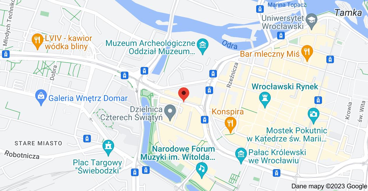 Mapa: Ruska 47-48, 50-128 Wrocław