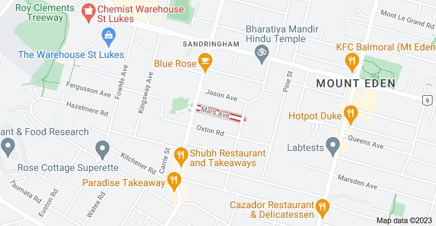Location of Mars Avenue