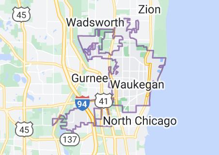 Map of Waukegan, Illinois