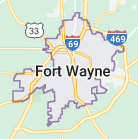 Map of Fort Wayne, Indiana