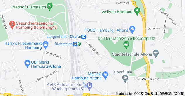 Karte von Isebekstraße, 22769 Hamburg
