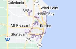Map of Racine, Wisconsin