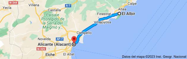 Mapa de El Albir, 03581, Alicante a Alicante (Alacant), Alicante