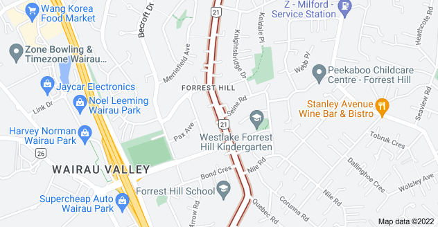 Location of Forrest Hill Road