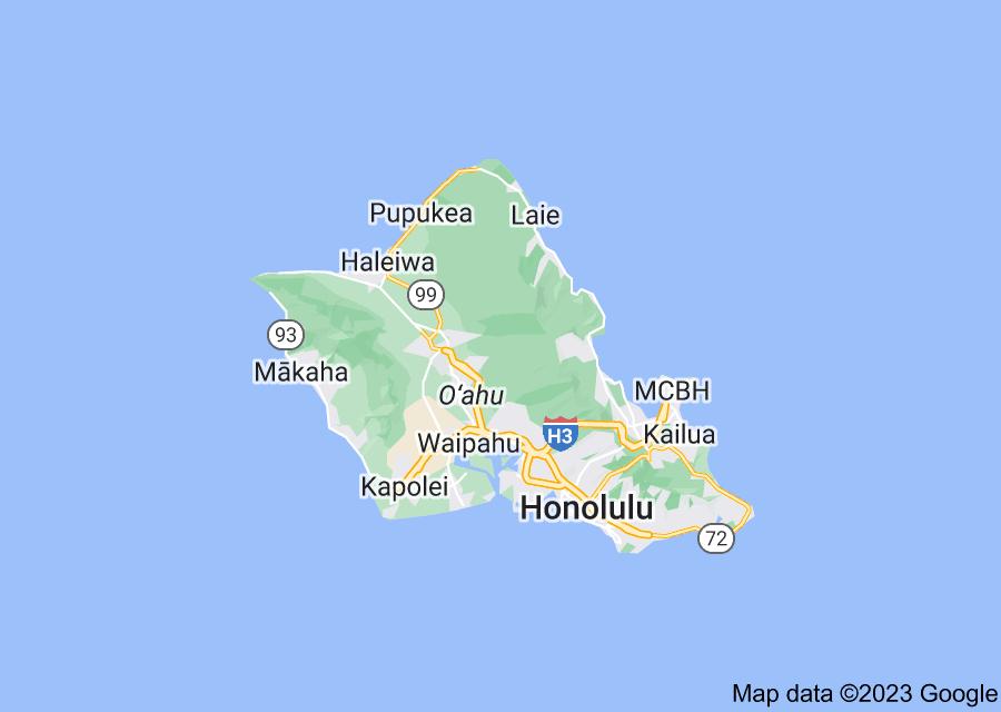 Location of Oahu