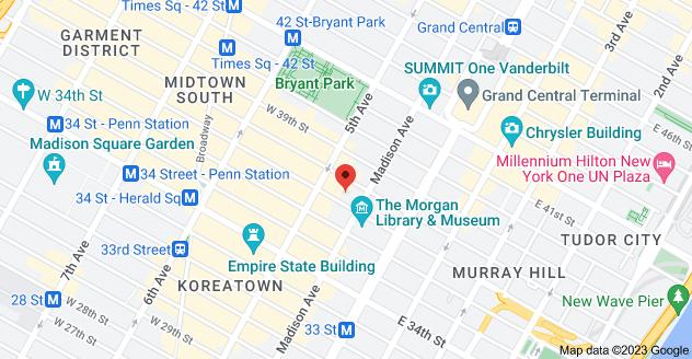 Map of 13 E 37th St, New York, NY 10016