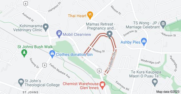 Location of Castledine Crescent