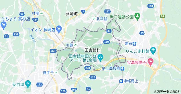青森県南津軽郡田舎館村の地図