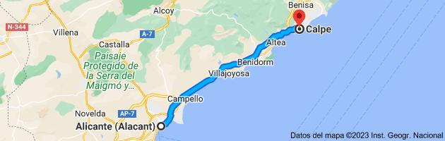 Mapa de Alicante (Alacant), Alicante a Calpe, Alicante