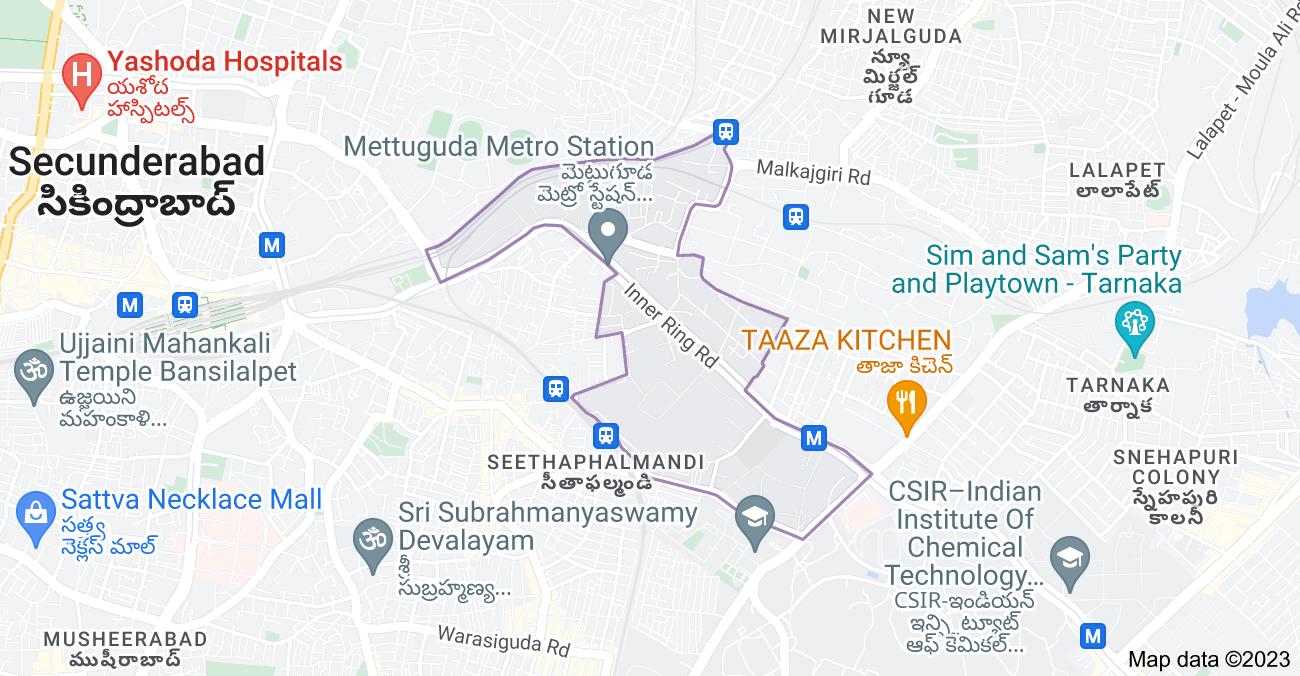 Map of Mettuguda, Secunderabad, Telangana, India