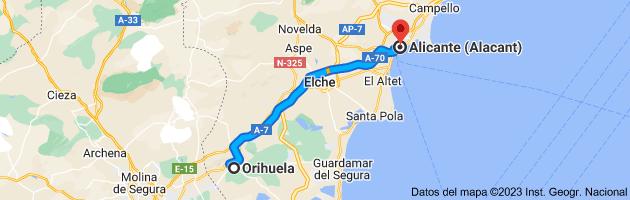Mapa de Orihuela, Alicante a Alicante