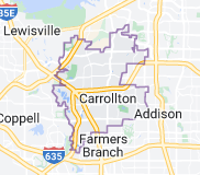 Map of Carrollton, Texas